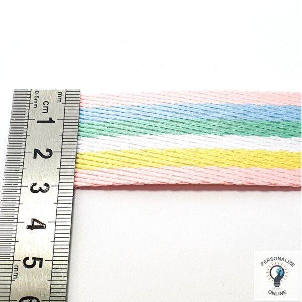 Alça chic listrada arco íris 3 cm