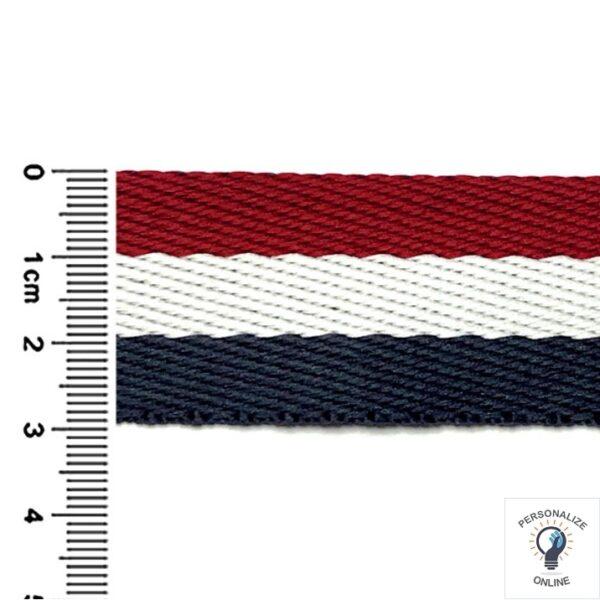 Alça chic listrada bordo azul marinho e branco largura de 30 mm 01 metro