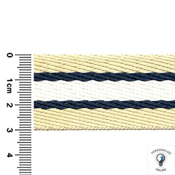Alça chic listrada bege azul marinho e branco largura de 30 mm 01 metro